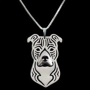 Jewelry - Silver Pit Bull Lover Necklace Pittie Cutout
